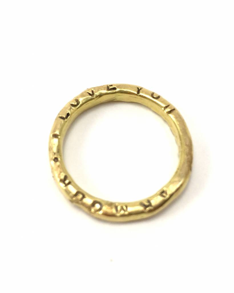 18k Gold Thin Organic Word Band