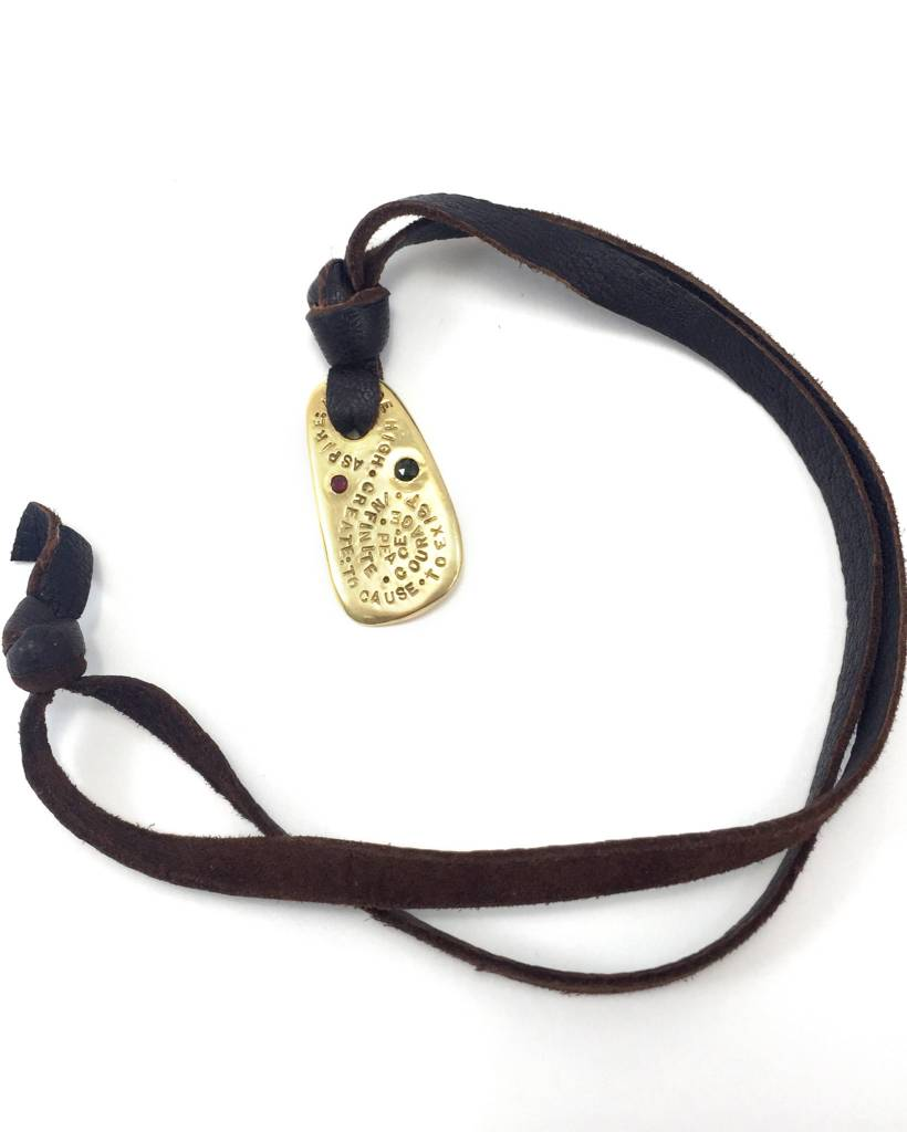 18k Gold Spirit Shield on Leather Necklace