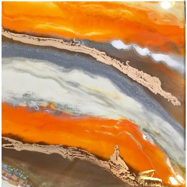 ORANGE ONYX TRIPTYCH  *Sold*