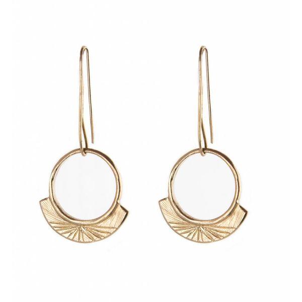 Light 10K Yellow Gold Engraved Earrings