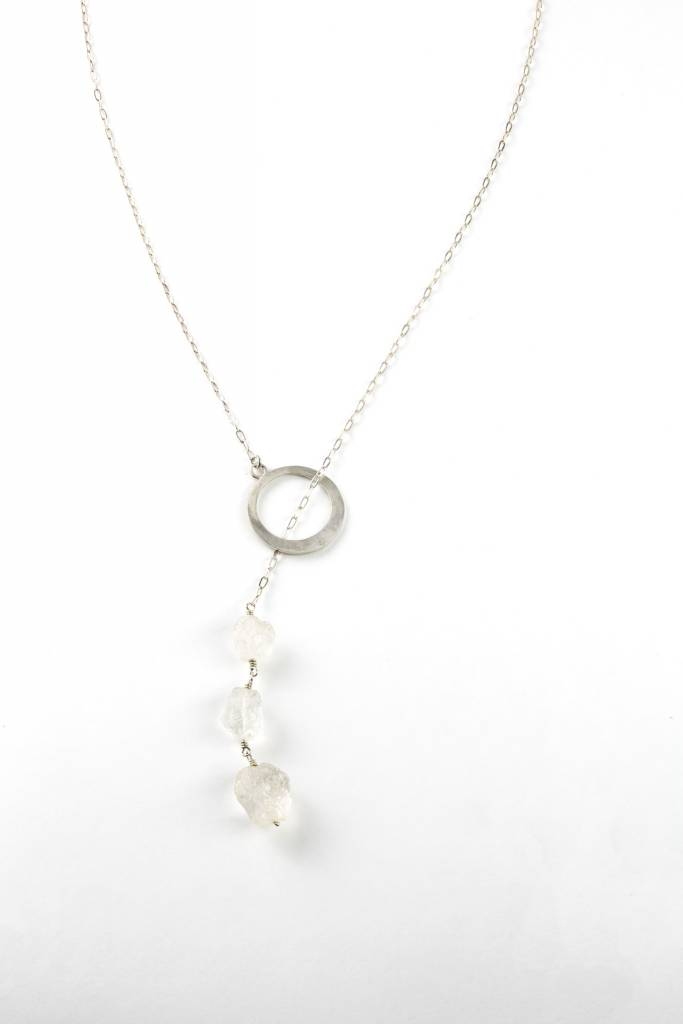 Drop Pendant with Crushed Quartz Crystal Beads