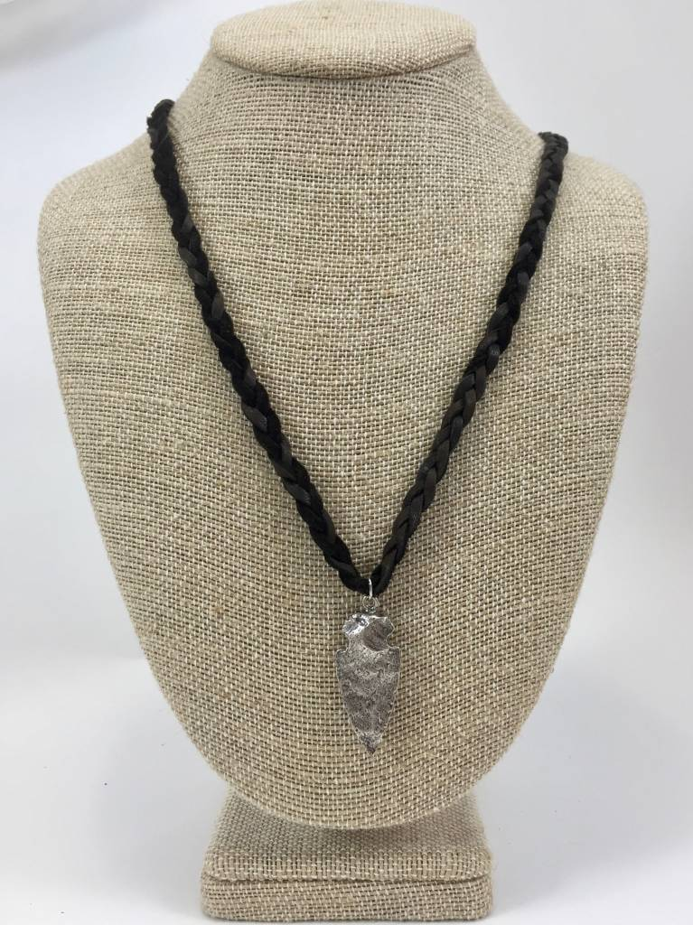 Small Arrowhead on Leather Necklace
