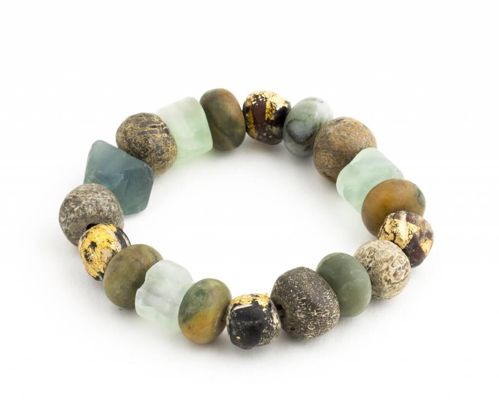 Apatite + Various Stone + Bone Beaded Bracelet