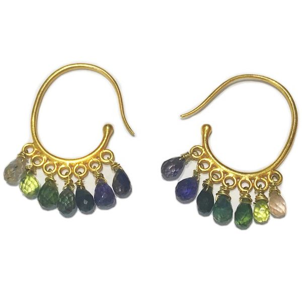 Sapphire Dangles with 18K Gold Hoop Earrings
