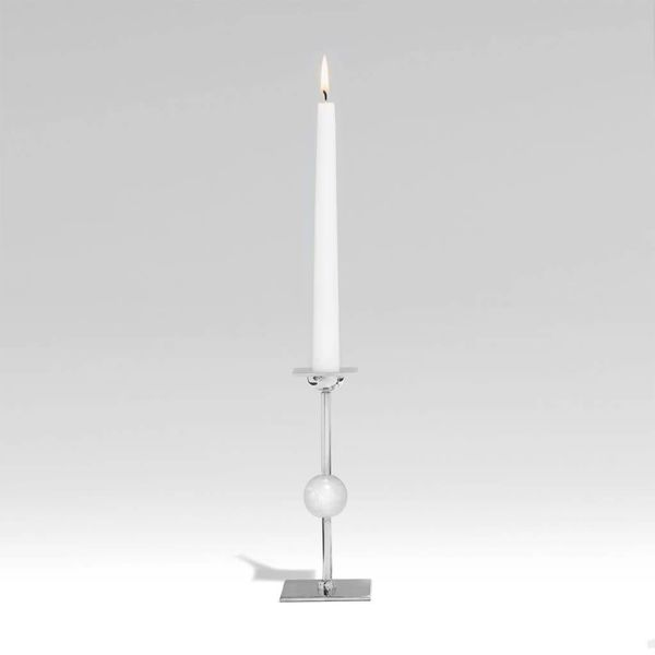 Medium Ilumina Candleholder - Nickel + Crystal