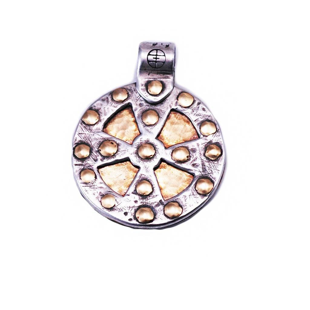 18K Gold and Sterling Silver Spirit Shield Pendant