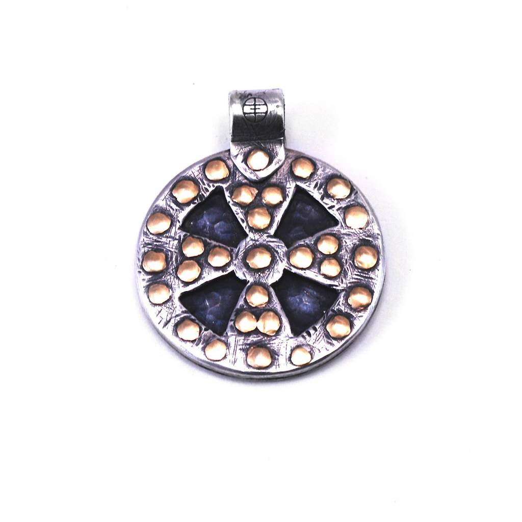 Sun and Shield Pendant with 18K Yellow Gold Rivets
