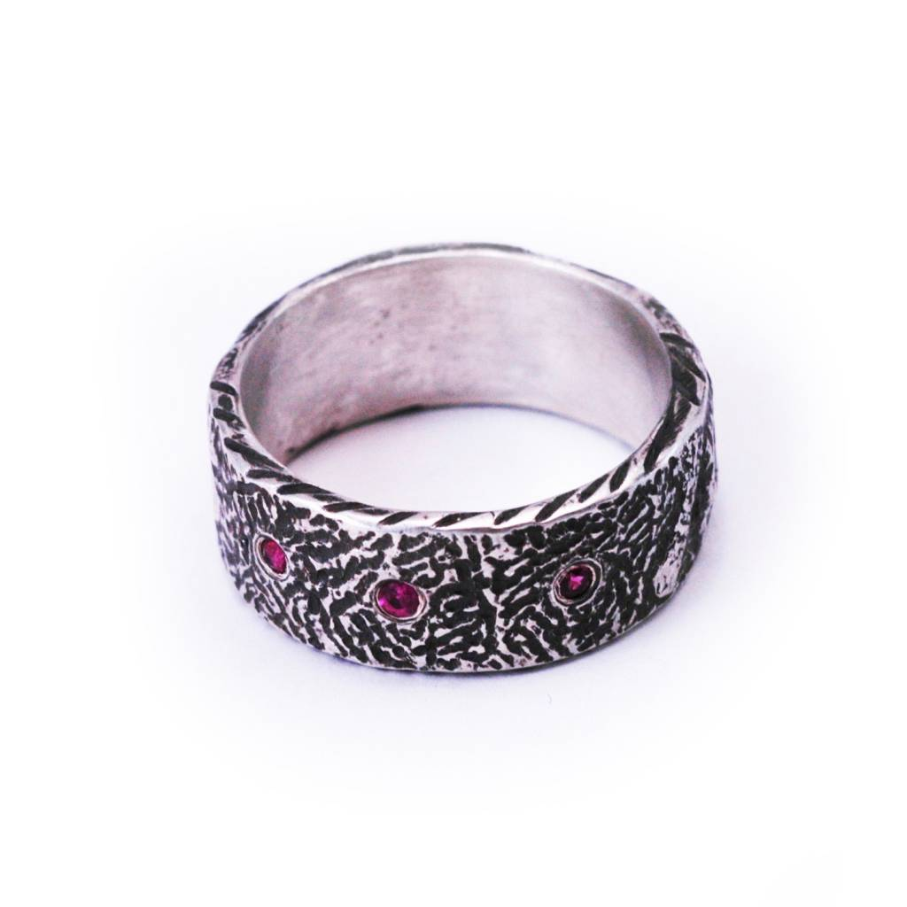 Textured Silver and 18K Gold Ring with 3 Rubies