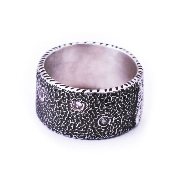 Textured Silver Band with 4 White Sapphires