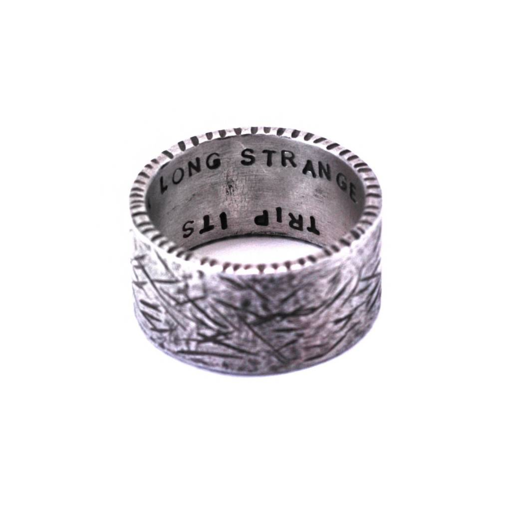 Sterling Silver Textured Band with 18K Gold Disc
