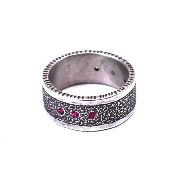 Sterling Silver Ring 3 Rubies + 3 White Sapphires
