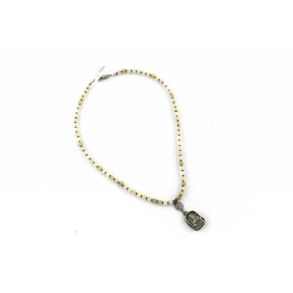 Small Natural Bead, Hematite Bead, Vintage Pendant Necklace