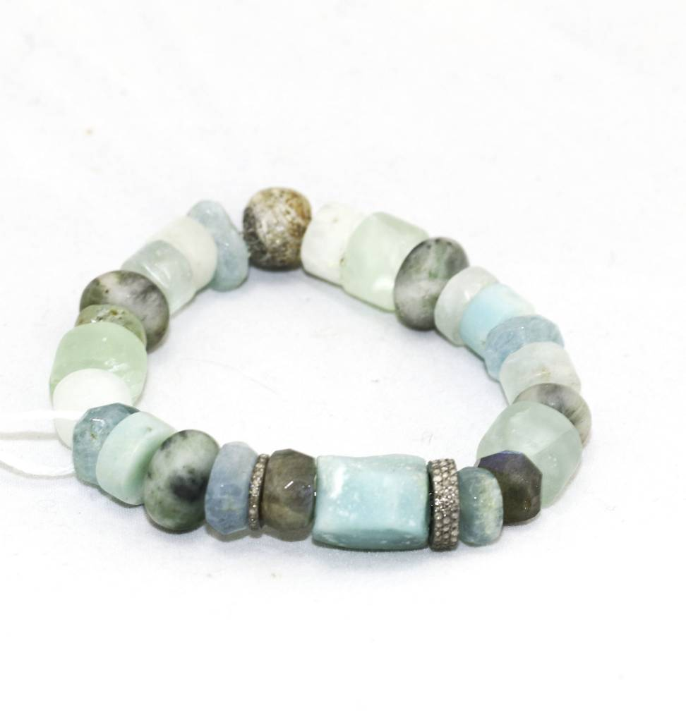 Amazonite, Aquamarine, Pave Diamond Bracelet