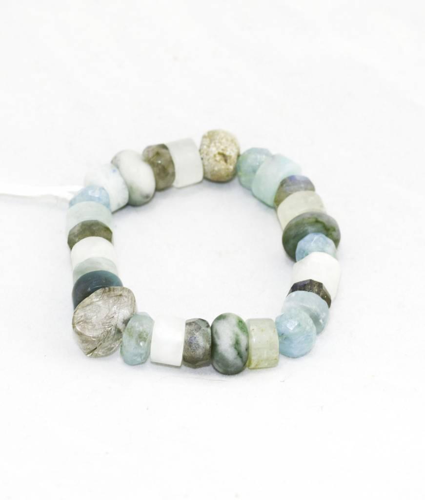 Aquamarine, Clear Crystal, Jade Bracelet