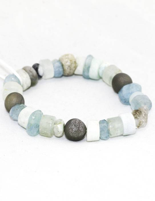Raw Diamond, Gray Druzy, Stegodon Bracelet