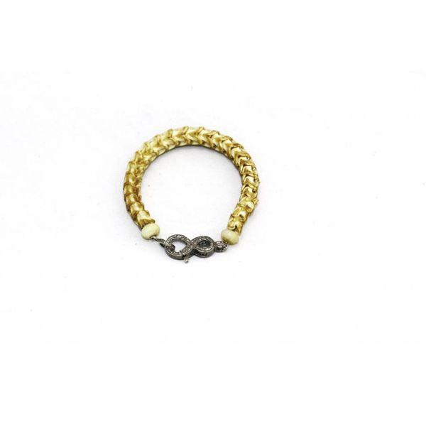 Snake Vertebrae with Pave Clasp Bracelet - Dark