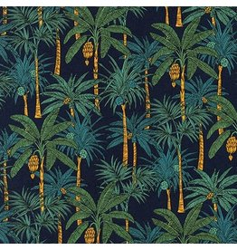 Robert Kaufman Sevenberry, Island Paradise in Navy, Fabric Half-Yards SB-4129D1-4