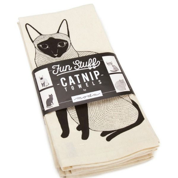 "Gingiber ""Catnip"" Tea Towels by Gingiber, Fun Stuff -Set of 4"