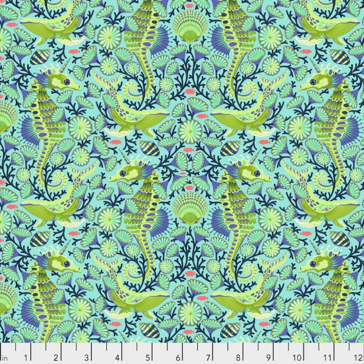 Tula Pink Zuma, Sea Stallion in Aquamarine, Fabric Half-Yards PWTP119