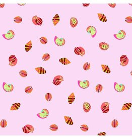 Tula Pink Zuma, Sea Shells in Glowfish, Fabric Half-Yards PWTP121