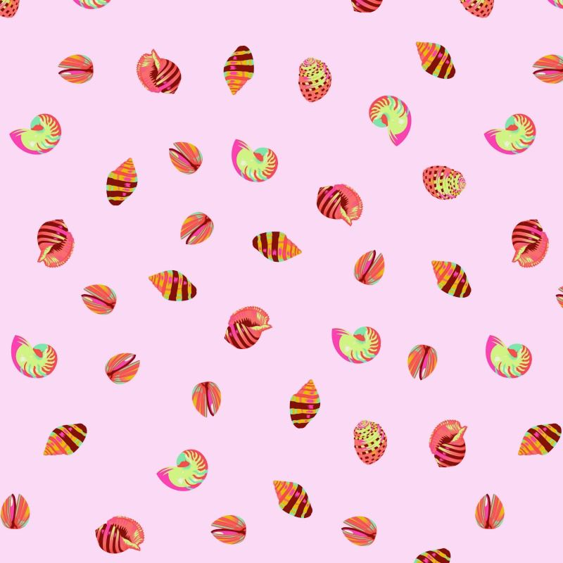 Tula Pink Zuma, Sea Shells in Glowfish, Fabric Half-Yards PWTP121