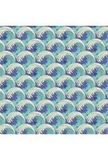 Tula Pink Zuma, White Caps in Aquamarine, Fabric Half-Yards PWTP122