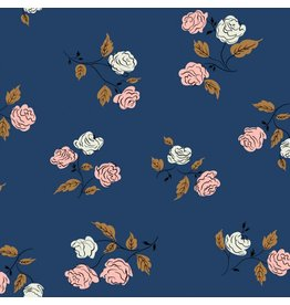 Kim Kight ON SALE-Steno Pool, Roses in Midnight, Fabric Half-Yards K3065-001