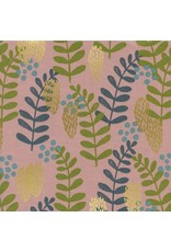 PD's Jen Hewitt Collection Imagined Landscapes, Fern Dell in Rose Unbleahed Cotton with Metallic, Dinner Napkin