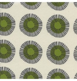 Jen Hewitt Imagined Landscapes, Seaside Daisy in Sage Unbleached Cotton, Fabric Half-Yards J9014-002