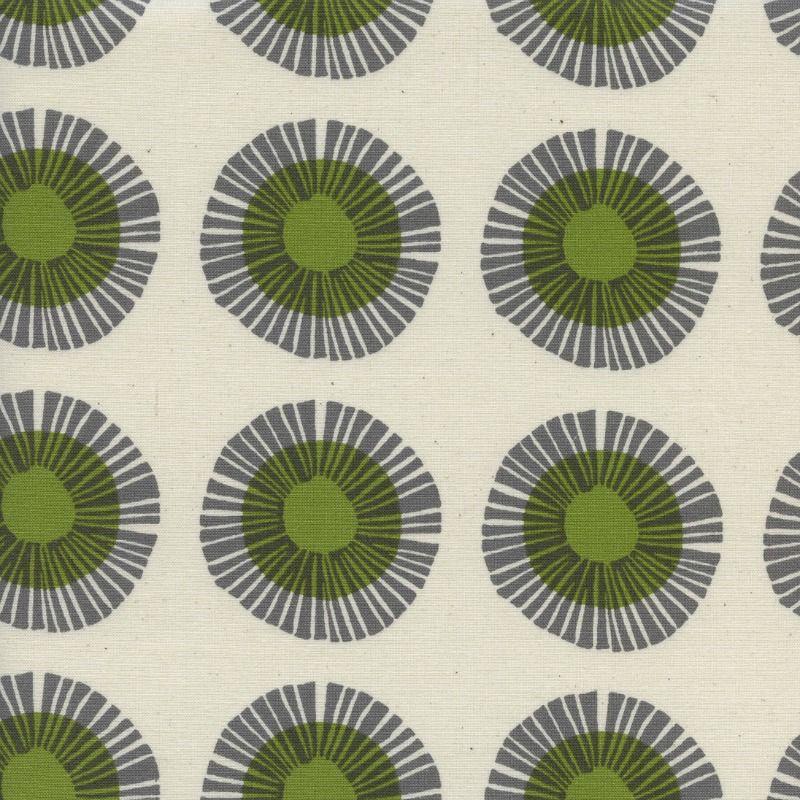 Jen Hewitt Imagined Landscapes, Seaside Daisy in Sage Unbleached Cotton, Fabric Half-Yards J9014-002
