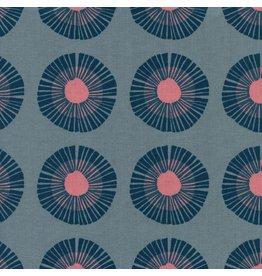 Jen Hewitt Imagined Landscapes, Seaside Daisy in Slate Unbleached Cotton, Fabric Half-Yards J9014-001