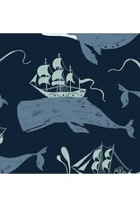 Rae Ritchie Aweigh North, Whale Ships in Navy, Fabric Half-Yards STELLA-SRR1060