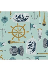 Rae Ritchie ON SALE-Aweigh North, Sea Supplies in Harbor, Fabric Half-Yards STELLA-SRR1057