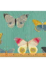 PD's Carrie Bloomston Collection Wonder, Newspaper Butterflies in Aqua, Dinner Napkin