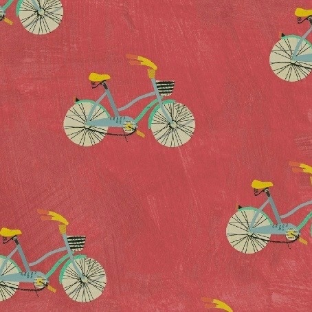 Carrie Bloomston Wonder, Little Bikes in Watermelon, Fabric Half-Yards 50516