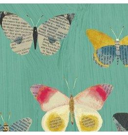 Carrie Bloomston Wonder, Newspaper Butterflies in Aqua, Fabric Half-Yards 50515