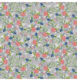 Natalie Malan Georgia Blue, Nosegay in Slate, Fabric Half-Yards PWNM014
