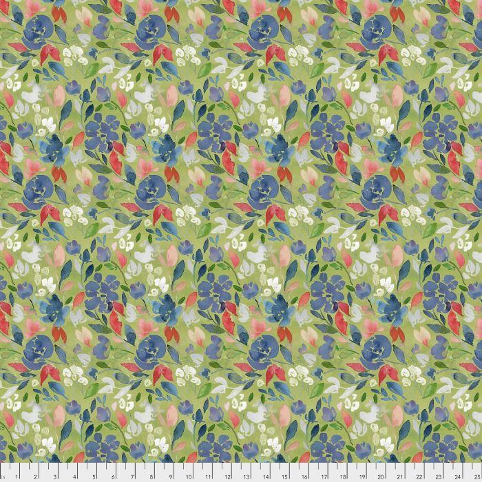 Natalie Malan Georgia Blue, Charming in <br /> Apple, Fabric Half-Yards PWNM009