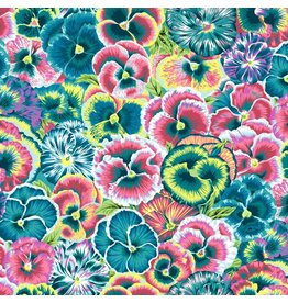 Snow Leopard Designs Arcadia, Violas in Teal, Fabric Half-Yards PWSL072
