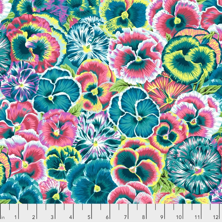 Snow Leopard Designs Arcadia, Violas in Teal, Fabric Half-Yards PWSL072