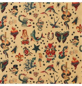 Alexander Henry Fabrics Nicole's Prints, Tattoo in Tea, Fabric Half-Yards 6236A1