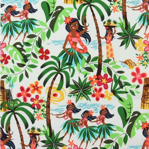 Alexander Henry Fabrics Beach Scenes, Leis, Luaus and Alohas in Natural, Fabric Half-Yards 15093AR