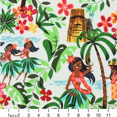 PD's Alexander Henry Collection Beach Scenes, Leis, Luaus and Alohas in Natural, Dinner Napkin