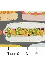 Alexander Henry Fabrics Boardwalk, Hot Dog! in Graphite, Fabric Half-Yards 8692B