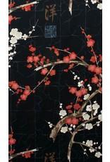 PD's Alexander Henry Collection Indochine, Golden Garden in Black, Dinner Napkin
