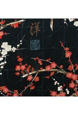 Alexander Henry Fabrics Indochine, Golden Garden in Black with Metallic, Fabric Half-Yards