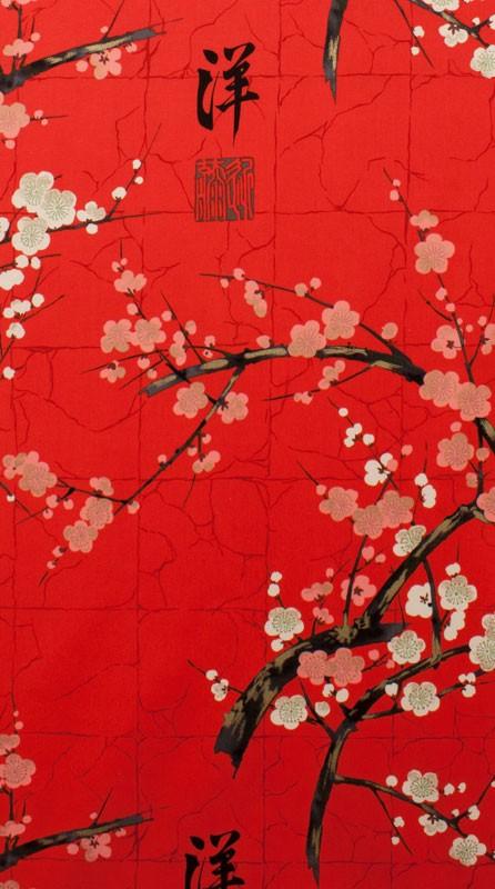 Alexander Henry Fabrics Indochine, Golden Garden in Red with Metallic, Fabric Half-Yards