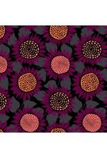 Sarah Watts Front Yard Cotton Lightweight Jersey, Sunflowers in Purple Moonrise  S2076-027, Fabric Half-Yards