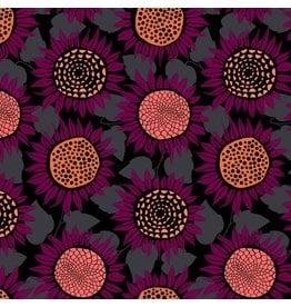 Sarah Watts Front Yard Cotton Lightweight Jersey Knit, Sunflowers in Purple Moonrise  S2076-027, Fabric Half-Yards