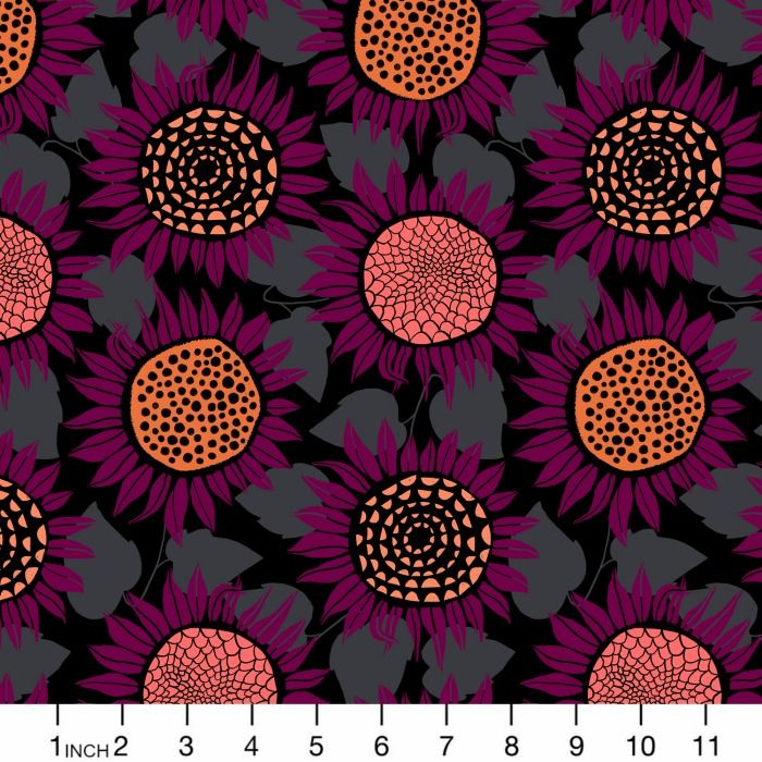 Sarah Watts Front Yard Cotton Lightweight Jersey Knit, Sunflowers in Purple Moonrise  S2076-027, Fabric Half-Yards